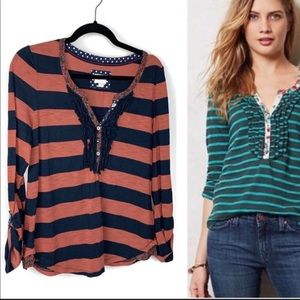 Anthropologie Postmark Striped Ruffle Henley Top M